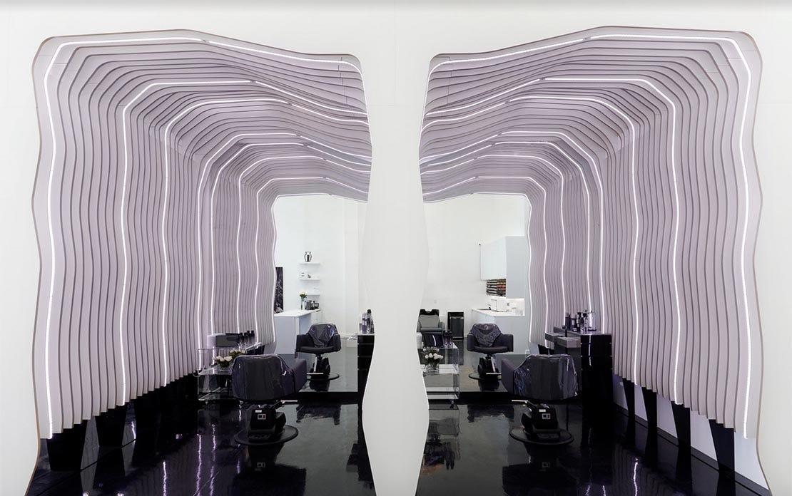interior design of a hair salon