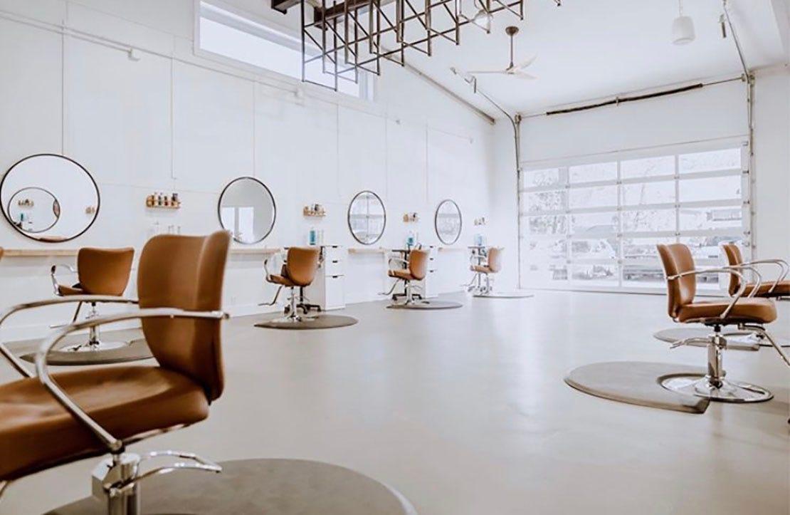 large bright salon interior